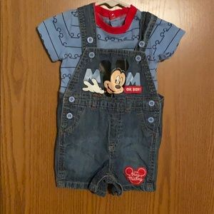 Disney Mickey overall/t-shirt set